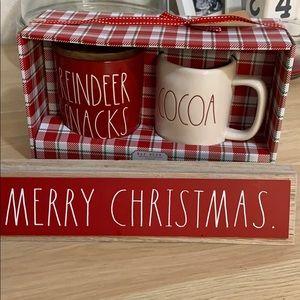 Rae Dunn Reindeer snacks Cellar and Cocoa mug